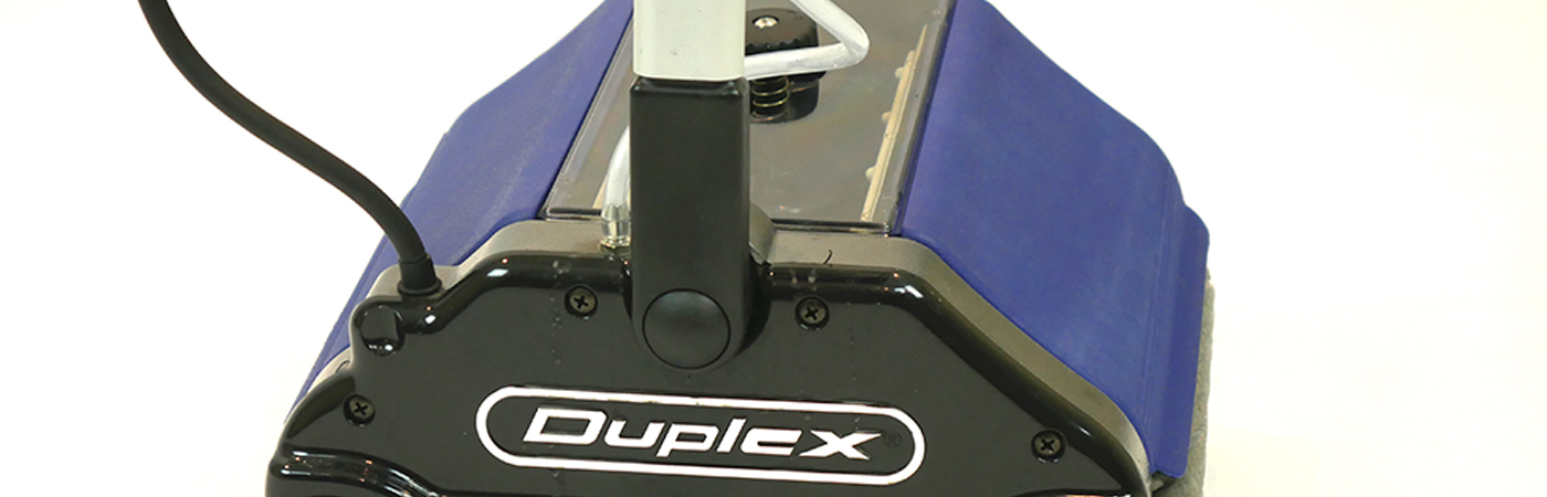 Close up of Duplex battery operated floor machine with dual water tanks