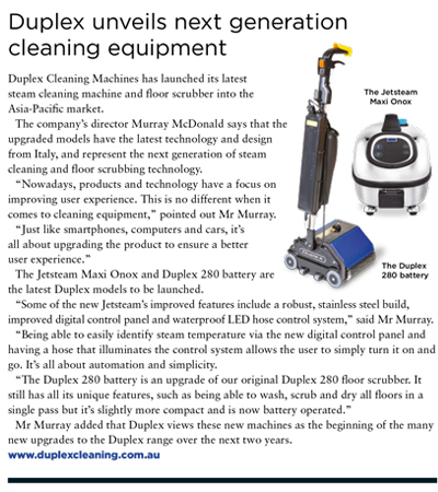 Duplex unveils next generation cleaning equipment
